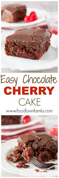 Easy chocolate cherry cake is a moist and delicious chocolate cake filled with cherries and topped with chocolate ganache. A great cake for any occasion!   http://www.foodlovinfamily.com/easy-chocolate-cherry-cake/