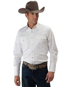 Roper Western Shirt Mens L/S Embroidery Snap White 03-001-0040-0526 WH