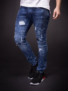 D&CO Men Ribbed Skinny Fit Side Ridges Distressed Ripped Motor Biker Jeans - Blue