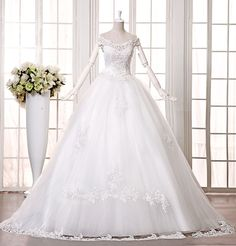 Slit neckline long trailing wedding dress