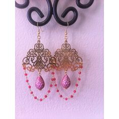 Ruby and Gold Vermeil 19th Century Earrings Baroque Rococo Bohemian... ($44) ❤ liked on Polyvore featuring jewelry, earrings, gypsy jewelry, boho jewelry, victorian earrings, ruby jewelry and ruby earrings