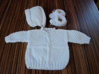 Pletená soupravička pro miminko Crochet Cardigan Pattern, Onesies, Knitting, Sweaters, Kids, Inspiration, Clothes, Babys, Fashion