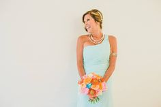 Funky bridal bouquet, blue, orange,pink, white,red flowers