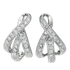 White Gold French Wire Diamond Earrings See more stunning jewelry at http://ExquisitEarrings.com! #jewelry