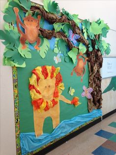 Jungle theme board African Jungle, African Theme, African Animals, Class Decoration, School Decorations, School Themes, Rainforest Crafts, Rainforest Animals, Jungle Theme Classroom
