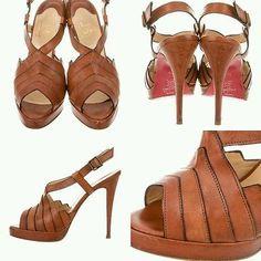 Christian Louboutin City Girl Slingback Platforms Size 39 Brown Womens Sandals