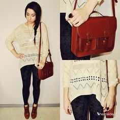 #SheInside Beige Geometric Eyelet Embellished Knit Jumper Sweater - Sheinside.com