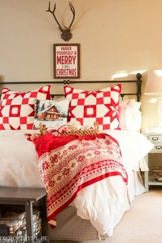 Red and White Christmas bedroom with star quilt - Golden Boys and Me Holiday Home Tour 2017