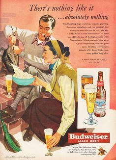 I really like the autumn/winter ensembles this 1950s couple is sporting as they enjoy their beer and popcorn. #ad #food #beer #popcorn #vintage #1950s #fifties