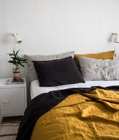 14 Fabulous Rustic Chic Bedroom Design and Decor Ideas to Make Your Space Special - The Trending House Bedroom Inspo, Home Decor Bedroom, Bedroom Furniture, Bedroom Inspiration, Cheap Furniture, Design Inspiration, Stylish Bedroom, Modern Bedroom, Mustard Bedroom