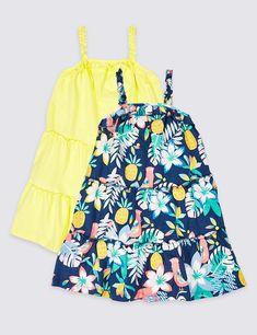 M/&S Marks and Spencer Kids Girls Yellow Summer Dress 3-6 Months BNWT
