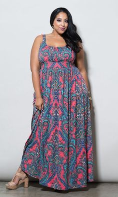 Paisley Maxi Dress features flattering, ruched bust area, built-in waist that helps to thin a heavy mid-section. Pair with bracelets and gladiator sandals. Paisley is classic and works great with solid colored cardigans.