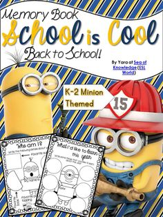 Back to School Minion Theme - This memory book is designed as a great way to get children involved in their own learning and progress. It is a great way to begin the year. It includes an few printables for an End of Year visit to complete the book. $
