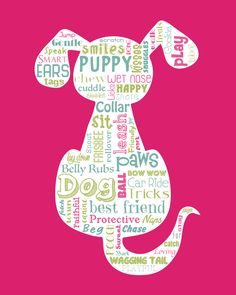 """Original artwork using words to describe """"DOGS"""" -- Dress up your home with this fun print that details the many words for your furry friends. Come visit the Lexicon Delight Etsy store!"""