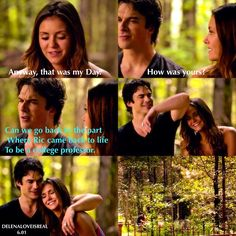 "#TVD 6x01 ""I'll Remember"" - Elena and Damon this just shows how much Elena loves Damon..... by trying everything she can to meet him..... even if it's just in her head...."