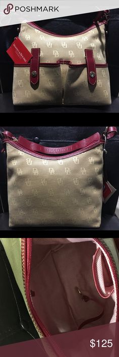 Dooney & Bourke Small Tan and Red  Dooney & Bourke with two front snap pockets Dooney & Bourke Bags Shoulder Bags
