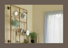 Copper pipes kitchen organizer