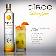 Pineapple Mojito Ciroc Vodka - this is the actual pineapple vodka I have! Might have to go with their suggestion on how to use it. Pineapple Vodka Drinks, Vodka Mixed Drinks, Pineapple Mojito, Pineapple Cocktail, Liquor Drinks, Vodka Cocktails, Cocktail Drinks, Alcoholic Drinks, Martinis