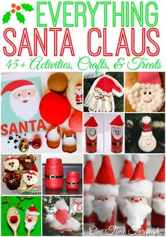 Santa-inspired arts and crafts, ornaments, treats, book recommendations, and play ideas