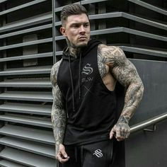 Life is full of happiness and tears; be strong and have faith. Hot Tattoos, Badass Tattoos, Tatoos, Tatted Guys, Sexy Tattooed Men, Brooklyn Girl, Inked Men, Sleeveless Hoodie, Muscle Men