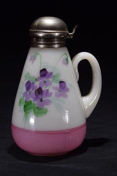 Victorian era opaline milk glass hand painted syrup pitcher  US $84.49