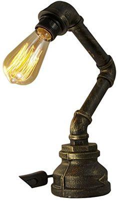 Steampunk - Vintage Industrial Steampunk Table Lamp Rustic Copper Water Pipe Bedside Desk Lamp T1003