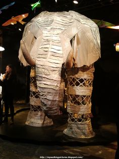 The Elephant costume from the Broadway production of The Lion King. Four actors move the elephant across the stage, one in each foot. #Costumes #Broadway