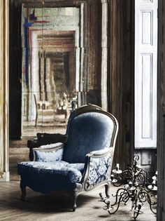 sweet paris - I want to sit in this chair, in that spot. Decor, French Chairs, Interior, Blue Living Room, Blue Chair, French Interior, Beautiful Chair, Inspiration, French House