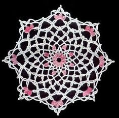 Pink Petal Doily crochet pattern from Star Doily Book No. by American Thread Company. Thread Crochet, Crochet Yarn, Crochet Stitches, Crochet Potholders, Crochet Bedspread, Crochet Tablecloth, Free Crochet Doily Patterns, Crochet Ideas, Free Pattern