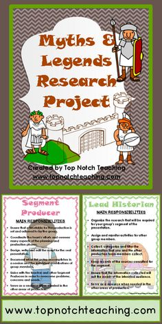 An engaging research project where students create a PowerPoint presentation to inform other students in their grade about myths and legends. $ http://www.teacherspayteachers.com/Product/Myths-Legends-Research-Project-792175