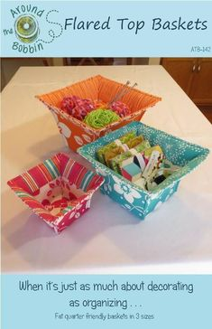 Sewing Top Flared Top Baskets - via - Easy Yarn Crafts, Sand Crafts, Upcycled Crafts, Fabric Crafts, Sewing Crafts, Sewing Projects, Cardboard Crafts, Recycled Art, Sewing Tips