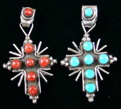 Image result for sunburst cross shaped inlaid coral silver pendant