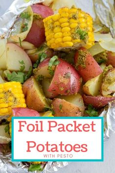 Foil Packet Potatoes turn out moist and soft and served with corn + onions in a pesto sauce #foilpackets #corn #potatoes #foilpacket #sides Foil Packet Potatoes, Vegetarian Comfort Food, Foil Packets, Pesto Sauce, Oven Roast, Side Recipes, Meatless Monday, Tray Bakes, Onions