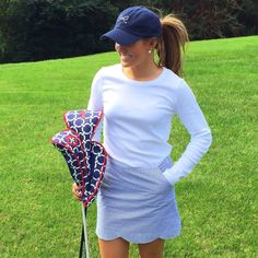 Ame & Lulu golf headcovers in Cru. Paired with the Navy Seersucker Skort…