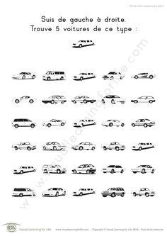 Dans les fiches de travail « Suivi de voiture complexe » l'élève doit trouver la même voiture que l'exemple en haut de la page.