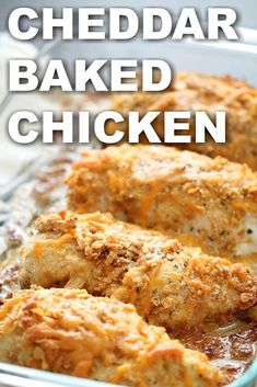 This Cheddar Baked Chicken is coated in a cheesy, buttery, crumb and Corn Flake breading and baked to perfection. This easy baked chicken comes out perfectly tender every time.
