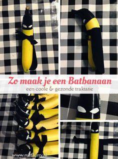Op zoek naar een gezonde en coole Batman traktatie? Deze Batbanaan is het allebei! #batman #traktatie #banaan #gezond #cool #verjaardag