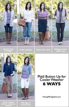 Putting Me Together: Plaid Button Up for Cooler Weather - 6 Ways