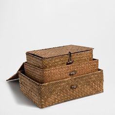 BROWN PALM BOX - Baskets - Decoration | Zara Home Sweden