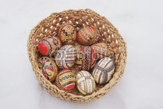 Typical painted eggs from Bucovina, Romania