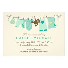 Laundry Day Baby Birth Announcements
