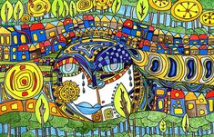 Urban Development tells a story of man and nature living together in harmony among the flow of architecture development and how we are all connected. This piece is reflective of my main style and one I enjoy the most. I love the flowing lines, the connection between humanity and nature, and the boldness of color... Friedensreich Hundertwasser, Digital Art, We Are All Connected, Vienna Austria, Natural Forms, Architecture, Les Oeuvres, Nature, Embellishments