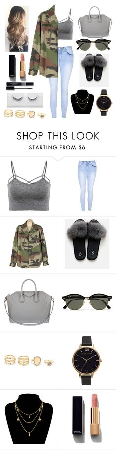 """Camuflaje"" by ayelendenisem ❤ liked on Polyvore featuring Glamorous, Givenchy, Ray-Ban, LULUS, Olivia Burton, Chanel and Christian Dior"