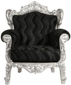 """Butaca barroca """"Luis"""" plateada / Baroque silver """"Luis"""" armchair."""