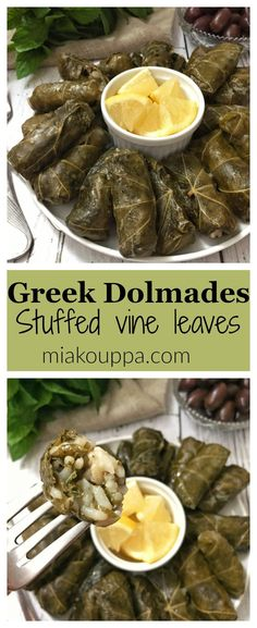 A mixture of rice and herbs wrapped in vine or grape leaves. A traditional and delicious Greek recipe. A mixture of rice and herbs wrapped in vine or grape leaves. A traditional and delicious Greek recipe. Dolmades Recipe, Dolmas Recipe Greek, Stuffed Grape Leaves, Greek Cooking, Greek Dishes, Cooking Recipes, Healthy Recipes, Greek Food Recipes, Vegetarian