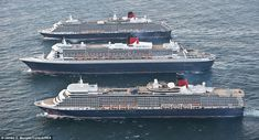 Grand dames of the sea: First ever photos of Cunard's three iconic liners sailing in formation as Queen Elizabeth, Queen Mary 2 and Queen Victoria make their way to UK