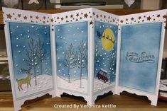 Screen Divider www. Make sure to check out my Stamp of the Month Kit Linda Bauwin – CARD-iologist Helping you create cards from the heart. Chrismas Cards, Stampin Up Christmas, Christmas Cards To Make, Christmas Settings, Xmas Cards, Holiday Cards, Fun Fold Cards, Folded Cards, Screen Cards