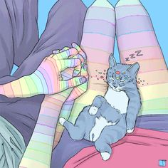 Holding Hands With Cat by SuperPhazed / Trippy gif animated