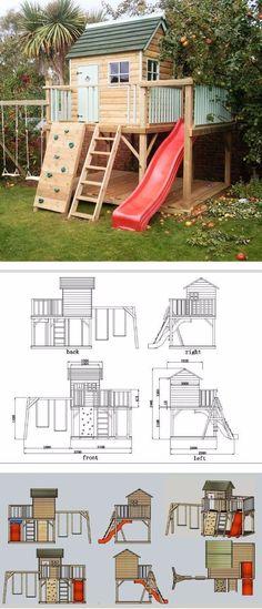 Garden Play House, Slide Swing Set cm) price 9800 tl + vat ins … - Modern Kids Backyard Playground, Backyard Playset, Backyard Playhouse, Build A Playhouse, Backyard For Kids, Backyard Projects, Playhouse Slide, Kids Outdoor Play, Indoor Play
