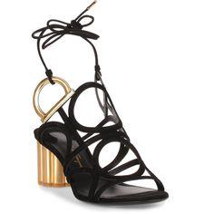 Vinci 55 Suede Black Sandal (€755) ❤ liked on Polyvore featuring shoes, sandals, black, gold metallic sandals, metallic sandals, suede sandals, mid heel sandals and metallic block heel sandals